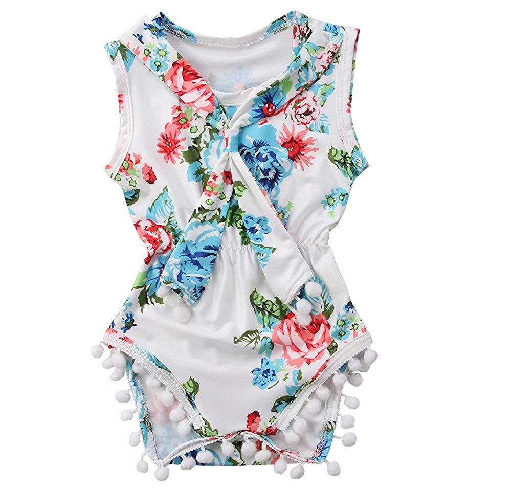 Baby Girls Girls Summer Floral Print Sleeveless Tassel Tie Romper