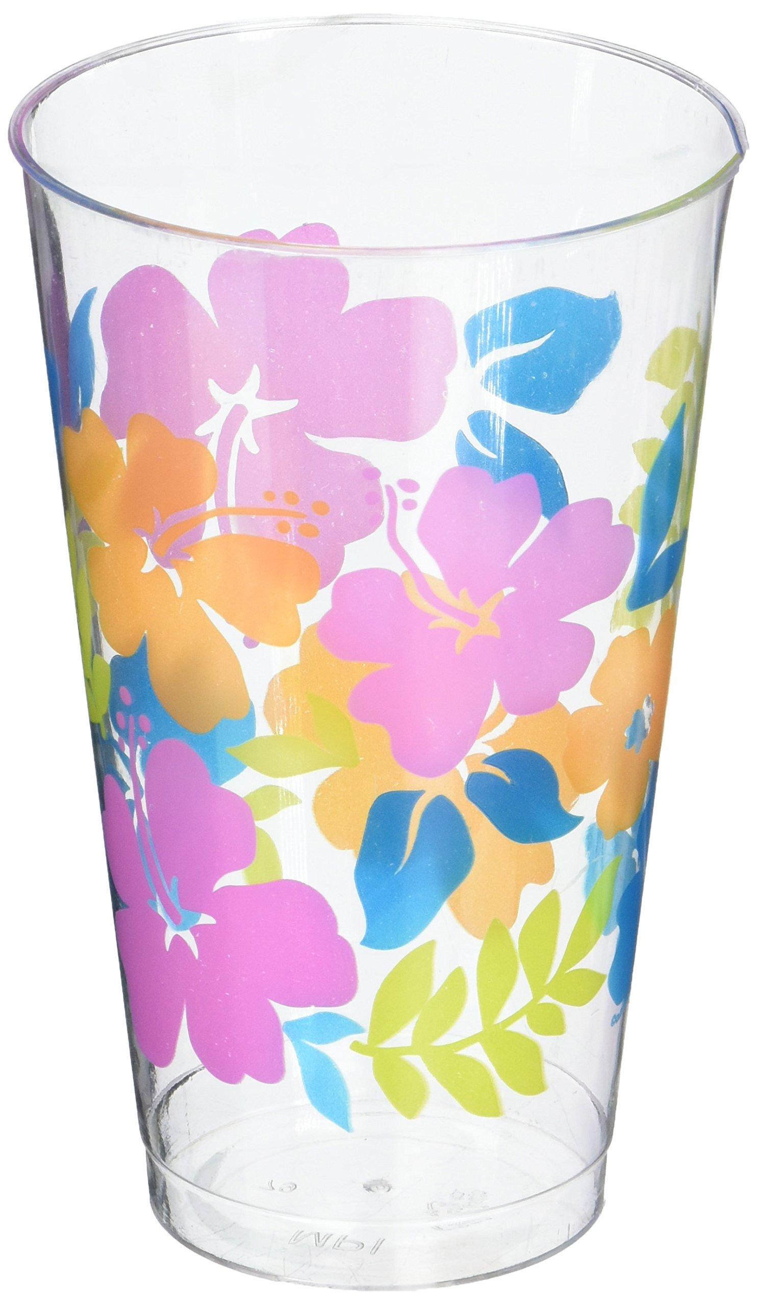 "Amscan Hawaiian Summer Luau Tropical Hibiscus Cold Drink Tumbler (25 Piece), Multi Color, 3.3 x 3.3"""