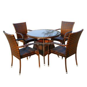 Popular European Style Rattan Dining Set, Stackable Outdoor Wicker Furniture