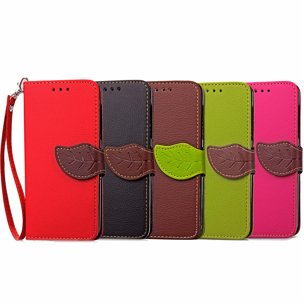 Leaf/foliage 2 Card Slots Design Wallet Leather Flip Cell Phone Cases with Stand for IPHONE 8