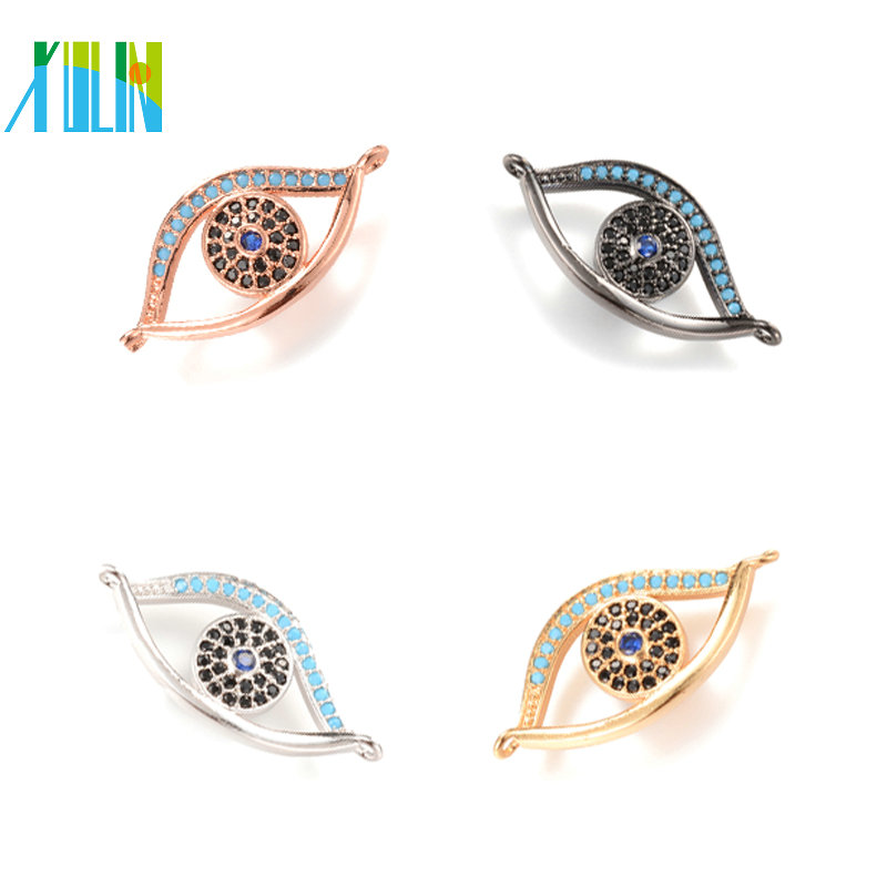 ECO-Friendly Turkey Evil eye Micro Pave Charm for Jewerly Making , ICSP016, Size 27*17.5 mm