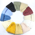 2019 yiwu factory fashion acrylic custom plain unisex women wholesale knitted hat