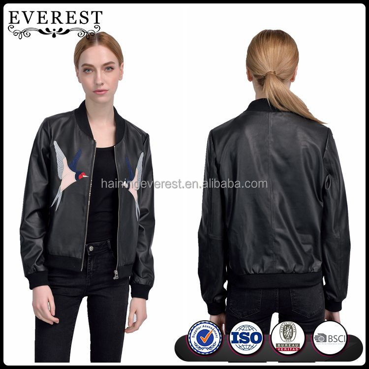 Embroidered Leather Varsity Jacket Lamb Nappa Leather Jacket for Women