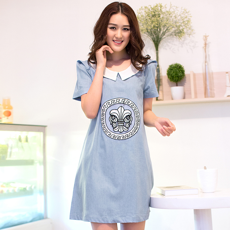 41f2772d99b Get Quotations · 2015 SUMMER maternity clothes fashion turn-down collar100% denim cotton dresses for pregnant women short