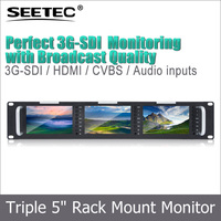 Tally indicator 500cd/m2 high brightness 2RU HDMI loop Peaking foucus triple 5inch rack mount monitor with SDI loop through