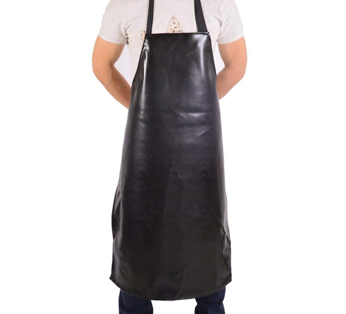 Haosen-six Leather Apron Anti-fouling Waterproof and Oil-proof Apron Comfortable Home Vinyl Waterproof Apron Durable Ultra Lightweight Black