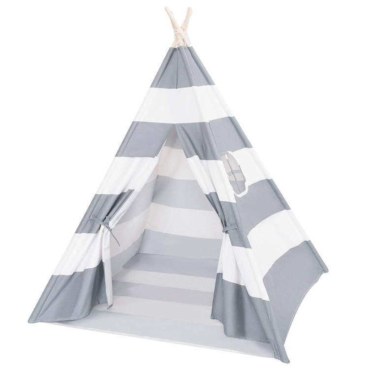 High Quality Children'S Gray Teepee With Star Sticker And Flag Decoration Tent Cotton Tipi Indian Play House Wigwam