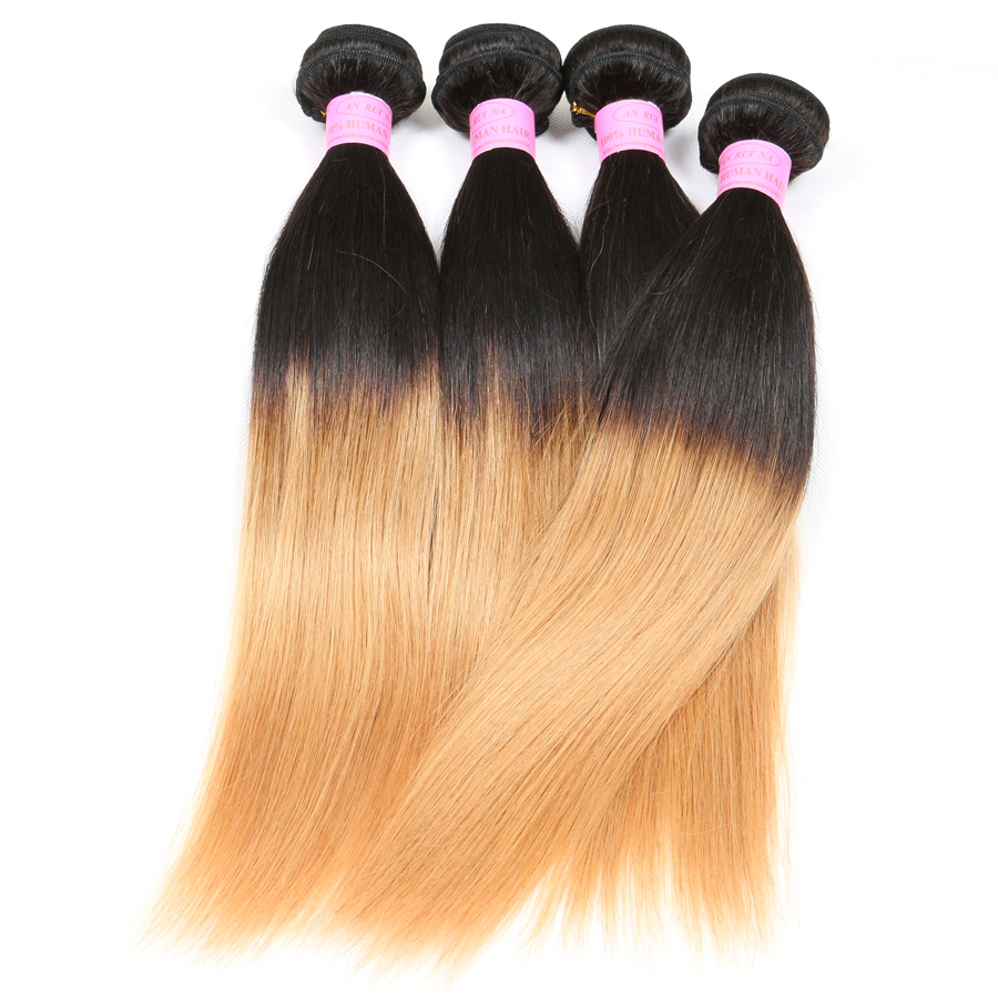 "Blonde Virgin Brazilian Straight Hair 4Pcs Lot #1b-27 Two Tone Brazilian Weave Hair Mixed 10""-30"" Ombre Human Hair Extensions"