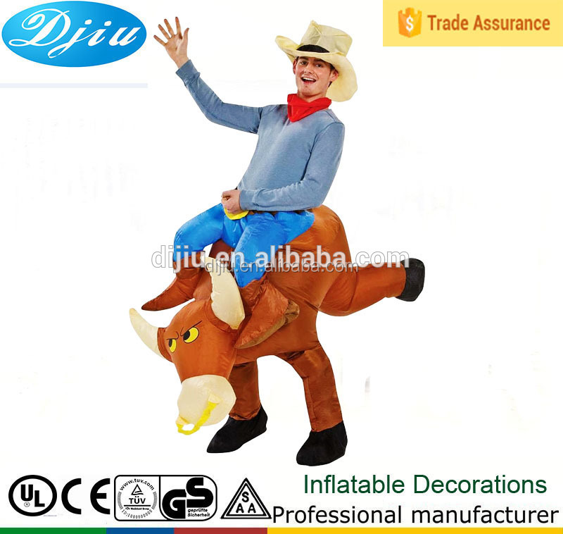 Unisex inflatable bull rider adult fancy dress costume cowboy rodeo stag night outfit inflatable wrestling suits