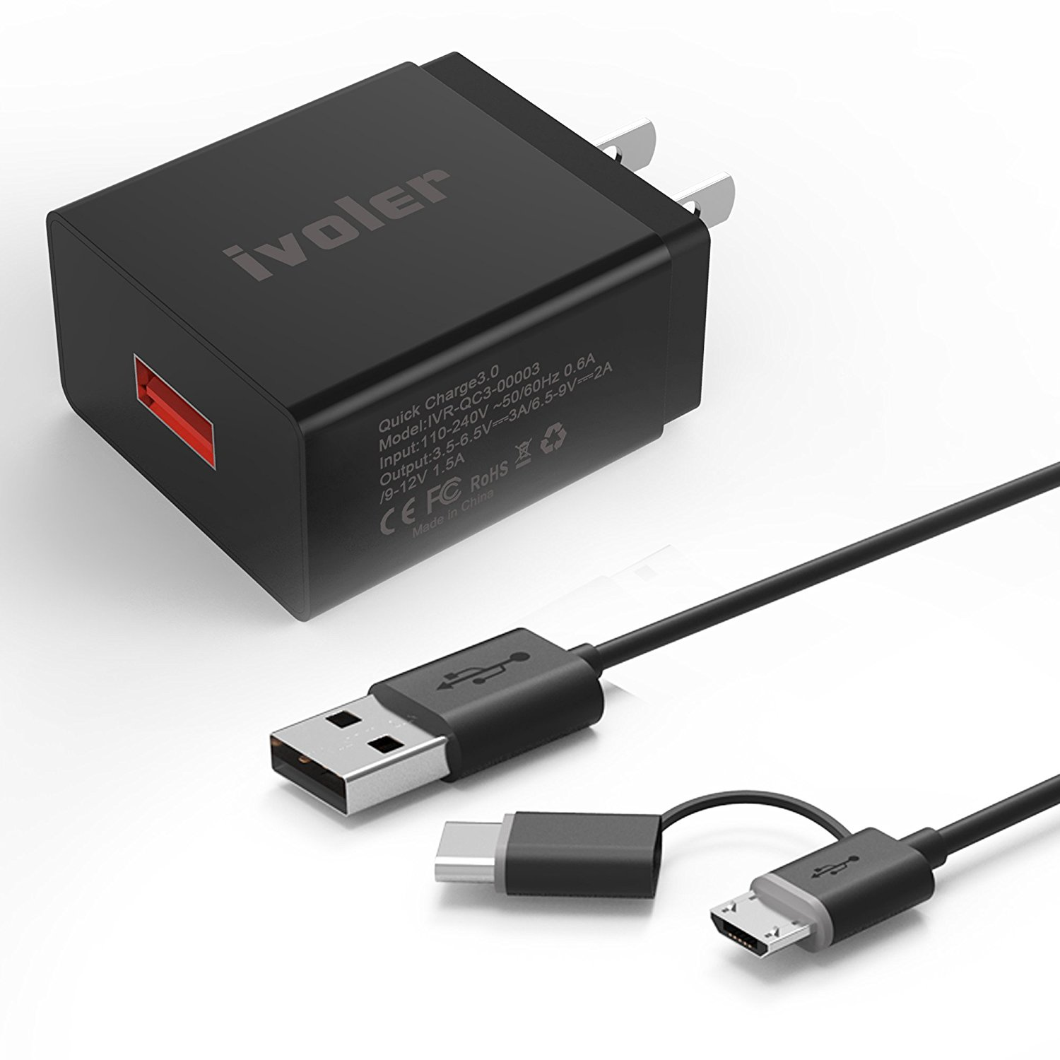 iVoler Quick Charge 3.0 USB Type C Adaptive Fast Charging Wall Charger with 2-in-1 Micro USB & Type C Cable for Samsung Galaxy S7/Edge/S6/Edge/Plus/Note 5, LG G5/V20, HTC 10 and More - Black