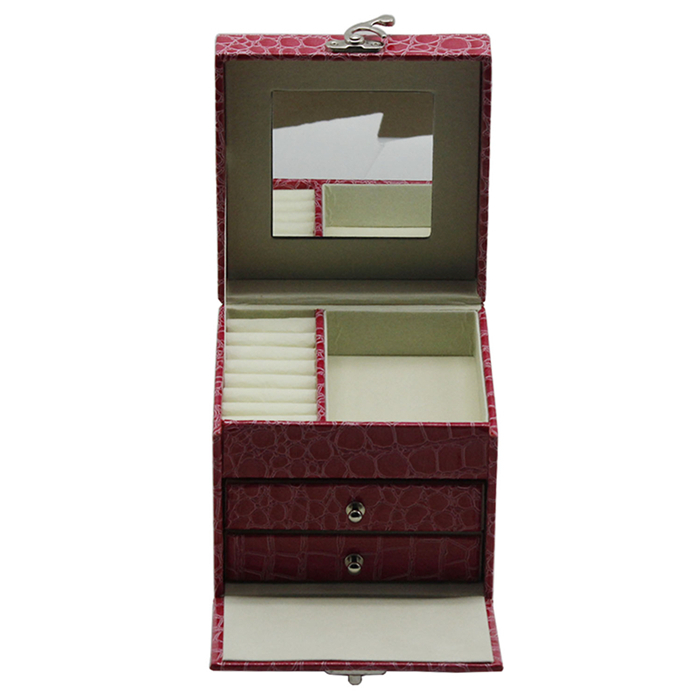 Girls large jewellery with drawers leather italian jewelry box