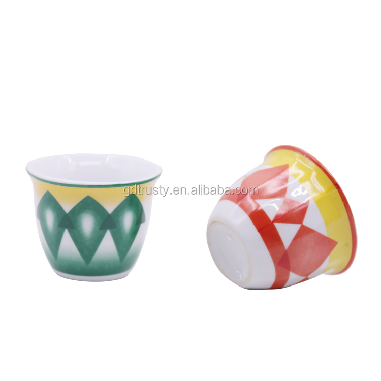 90CC Wholesale Porcelain arabic coffee cup Red green decal Bone china cawa cup set of 12