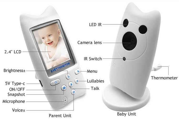 Wholesale 2.4GHz wireless surveillance camera Infrared night vision baby monitor with support two way talk temperature monitor