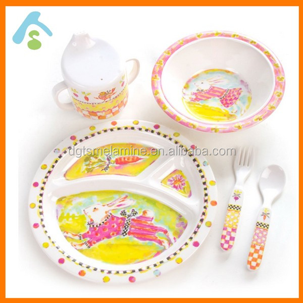 Melamine Divided Breakfast tray Set With Soup bowl & Cup & Spoon & Fork