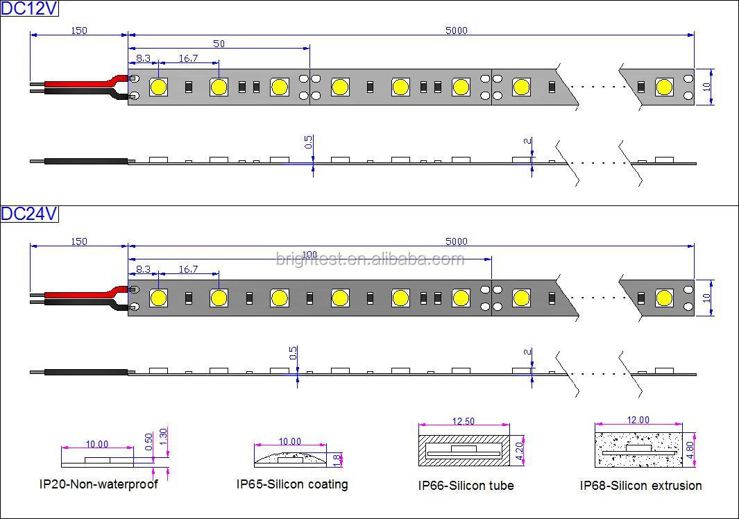RGB ha condotto la striscia smd5050 14.4 W/m 60leds ha condotto il nastro striscia di luce rgb led di illuminazione