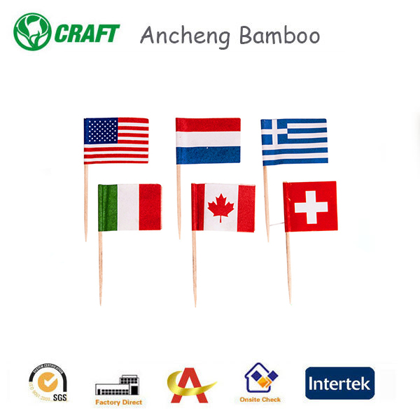Best products 2018 bamboo personized skewer tableware blank toothpick flags