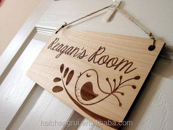 Personalised Kids Room Wood Door Sign- Bird And Words Carved Wood ...