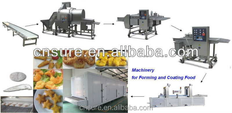 Automatic Chicken Popcorn/Fish Popcorn Processing Line, Chicken Nuggets Making Machine, Patty Making Machine