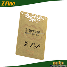 Gold hotel Metal VIP card with die cut letters/brass gold plated metal visiting card preprinted