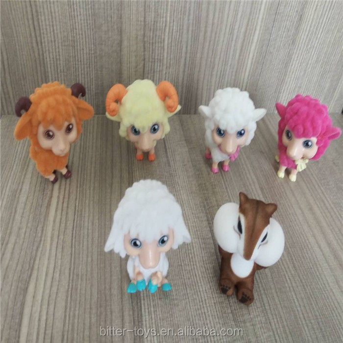 OEM 3D plastic PVC material flocking sheep model toys/action figure toys for children