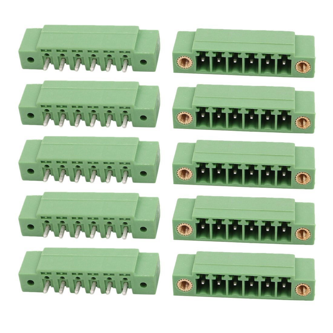 uxcell 10Pcs AC 300V 8A 3.81mm Pitch 6P Terminal Block Wire Connection for PCB Mounting