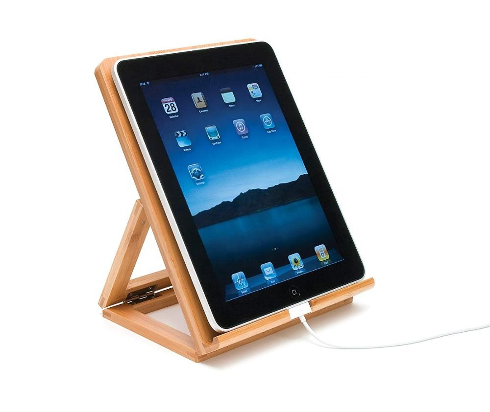 Bamboo Wood Folding book holder <strong>Stand</strong> for iPad, Samsung, Nexus, Nintendo Switch, and Other Tablets