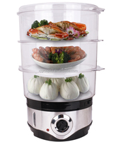 3-layers Round Shape Steam Cooker, 10 L XJ-12817B 2018 New Electric Stainless Steel Food Steamer