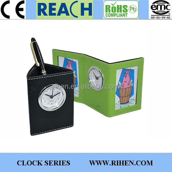 promotion leather penholder with clock