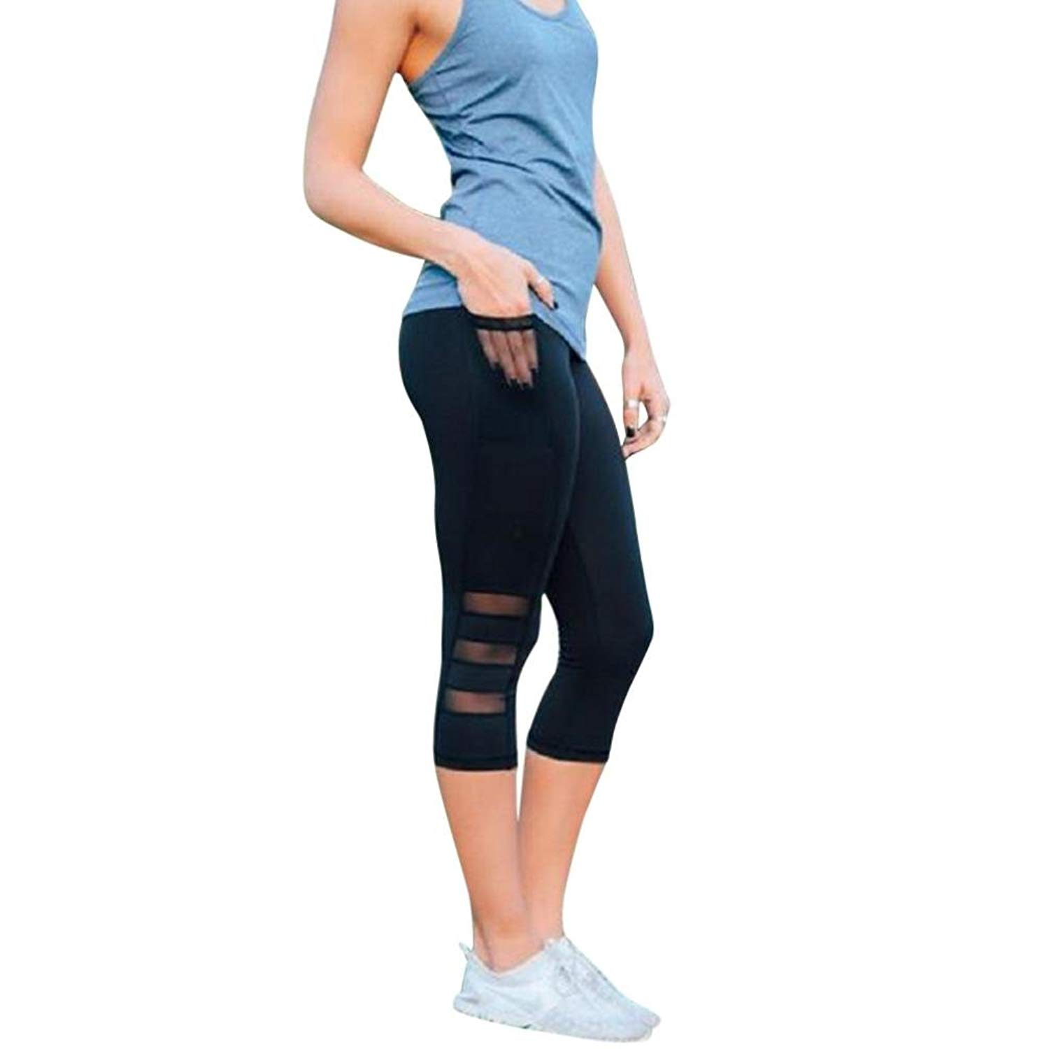 c8ccb2f416810 Mikkar Womens Sports Pants Skinny Leggings Patchwork Mesh Yoga Leggings  Fitness Sale