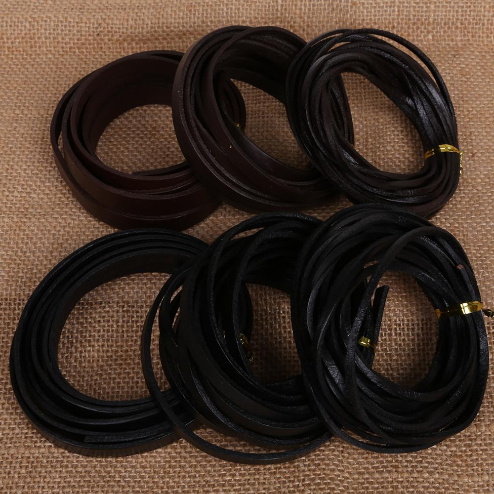 Natural 100% <strong>Genuine</strong> <strong>Leather</strong> Width 3/6/10mm Thickness 2mm Flat Beading Cords Rope String DIY Jewelry Findings DIY Supplies