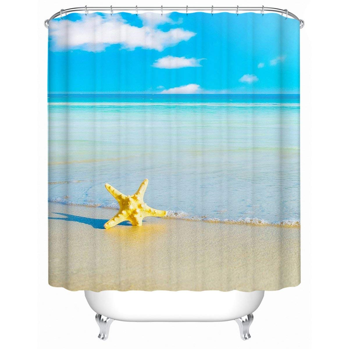 Get Quotations Sleepwish Ocean Scene Shower Curtain Seawater Sand Starfish Bathroom Accessories Beach Theme Curtains Sky
