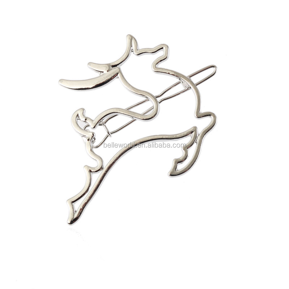Fancy cute jumping deer Christmas decorative metal hair clip in hair extension