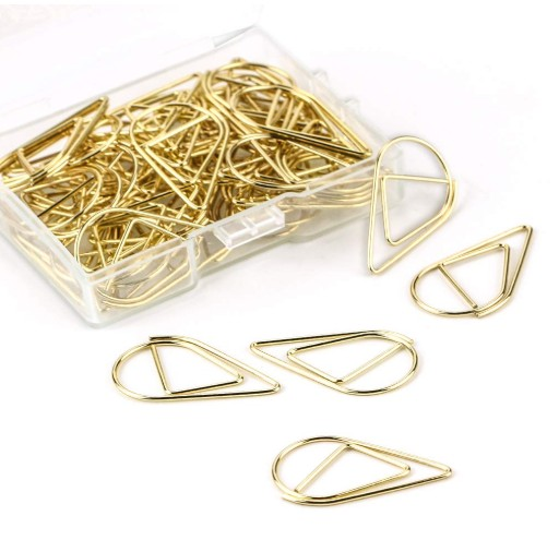Rose Goud Paperclips Creatieve Gold Druppels Vormige Document Clips Office Clips