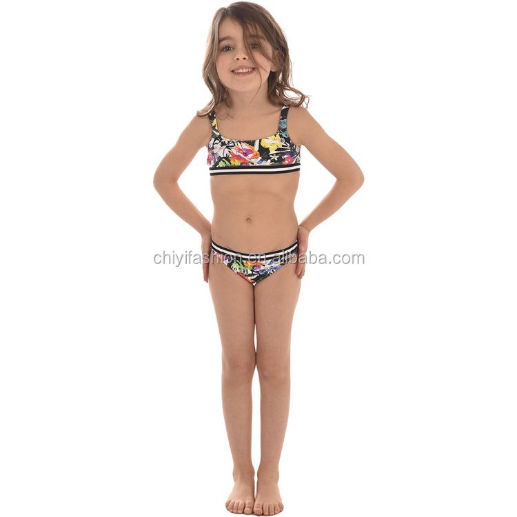 Oem Service Fashion Sexy Two Piece Girls Swimsuit Floral Little