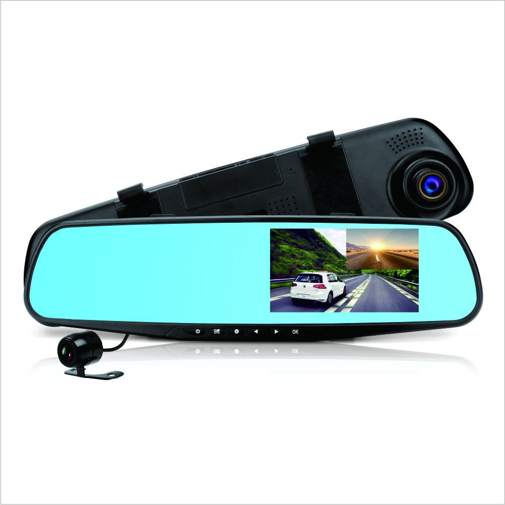 "Factory Price Car Dash Cam, 4.3"" LCD FHD 1080p Dual Lens Car Camera Front and Rear DVR Video Recorder car mirror camera"