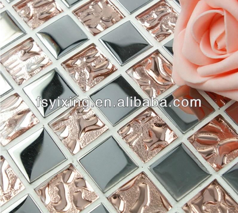 Bathroom Tile 15x15 Plating Glass Crystal Mosaic Tiles Three Color