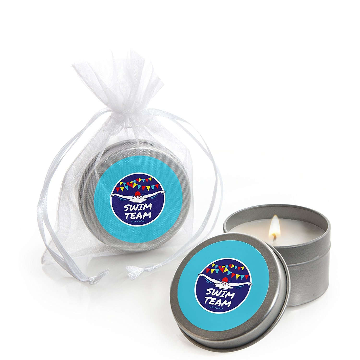 Big Dot of Happiness Making Waves - Swim Team - Candle Tin Swimming Party or Birthday Party Favors - Set of 12
