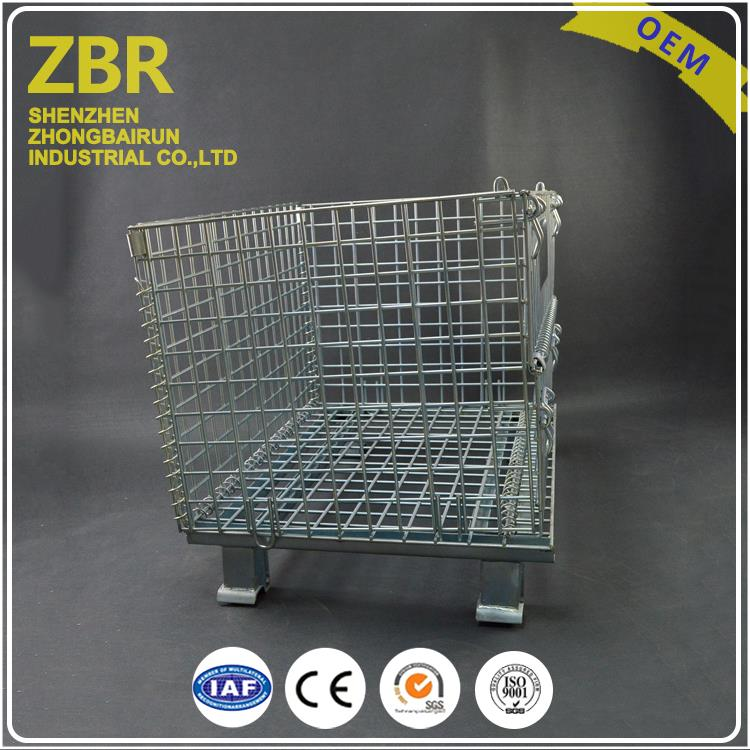 selling foldable wire mesh storage basket metal container with cover and lid bins