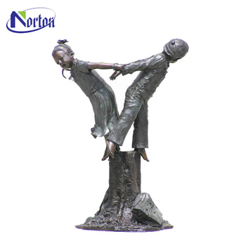Wholesale Bronze Boy And Girl Garden Statue NTBS 497Y