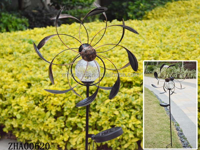 Metal Windmill Design Garden Decor With Solar Light