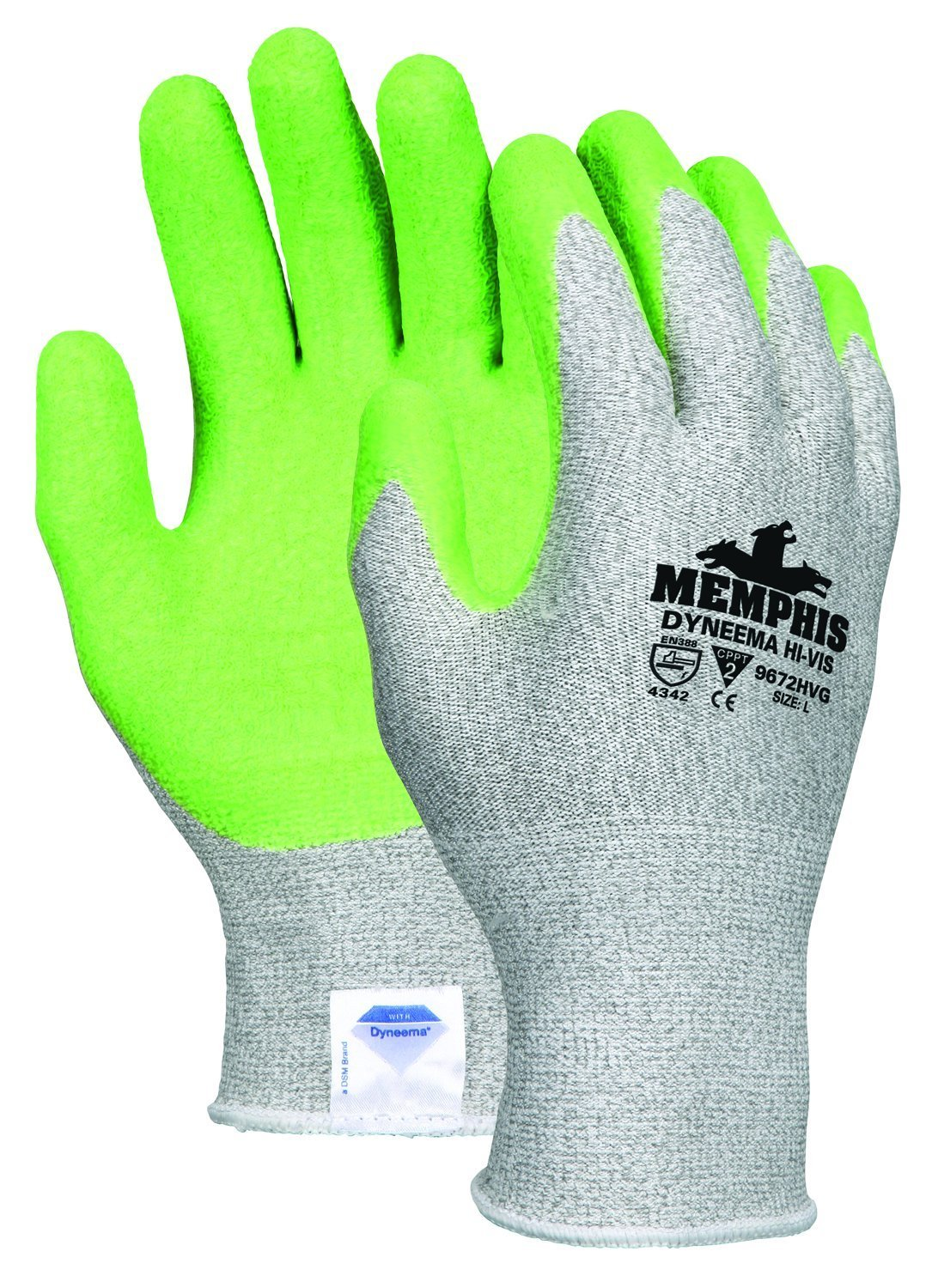 Memphis Glove 9672HVGS Dyneema 13-Gauge Shell Gloves with Crinkle Latex Coated Palm/Fingers, Green, Small, 1-Pair
