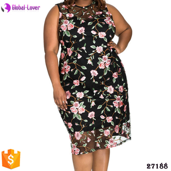 Xxxl Size Fat Women Embroidery Lace Dresses Plus Size Sexy Club