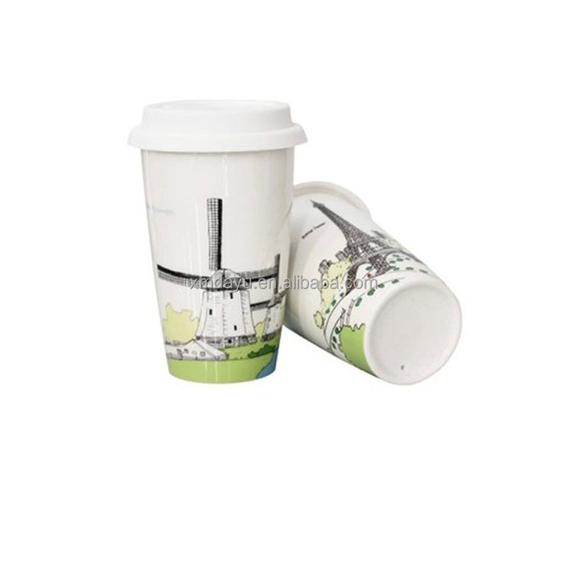 FDA Drinkable Double Wall Ceramic Travel Mug with silicone lid
