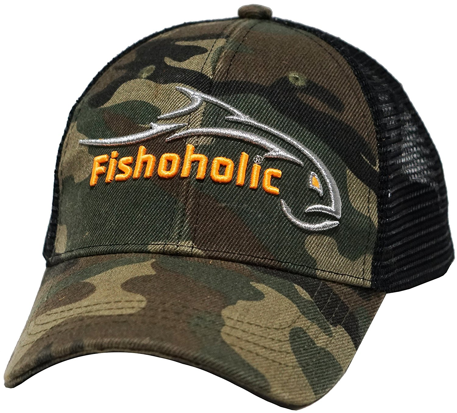 "Fishoholic (R) Baseball Fishing Hat - ""Bend Your Rod "" on Back. FREE Sticker incl. Fishaholic Camo with Black Mesh or Flexfit - Regular or Puff Embroidery - USPTO Registered Trademark (R)."
