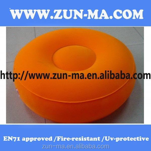 round shape iflatable flocked pvc sofa for living room