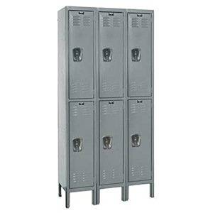 "Premium 2 Tier 3 Wide Knock-Down Locker Color: Hallowell Gray, Size: 66"" H x 36"" W x 18"" D"