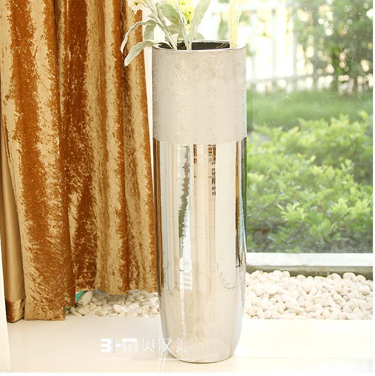 prime argent plaqu de sol en c ramique grand vase d coration pour h tel id de produit. Black Bedroom Furniture Sets. Home Design Ideas
