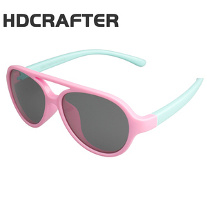 HDCRAFTER Flexible Eyewear Kids Sunglasses Polarized Anti UV Oval Sun Glasses Girls Boys Infant Outdoor Goggles Oculos