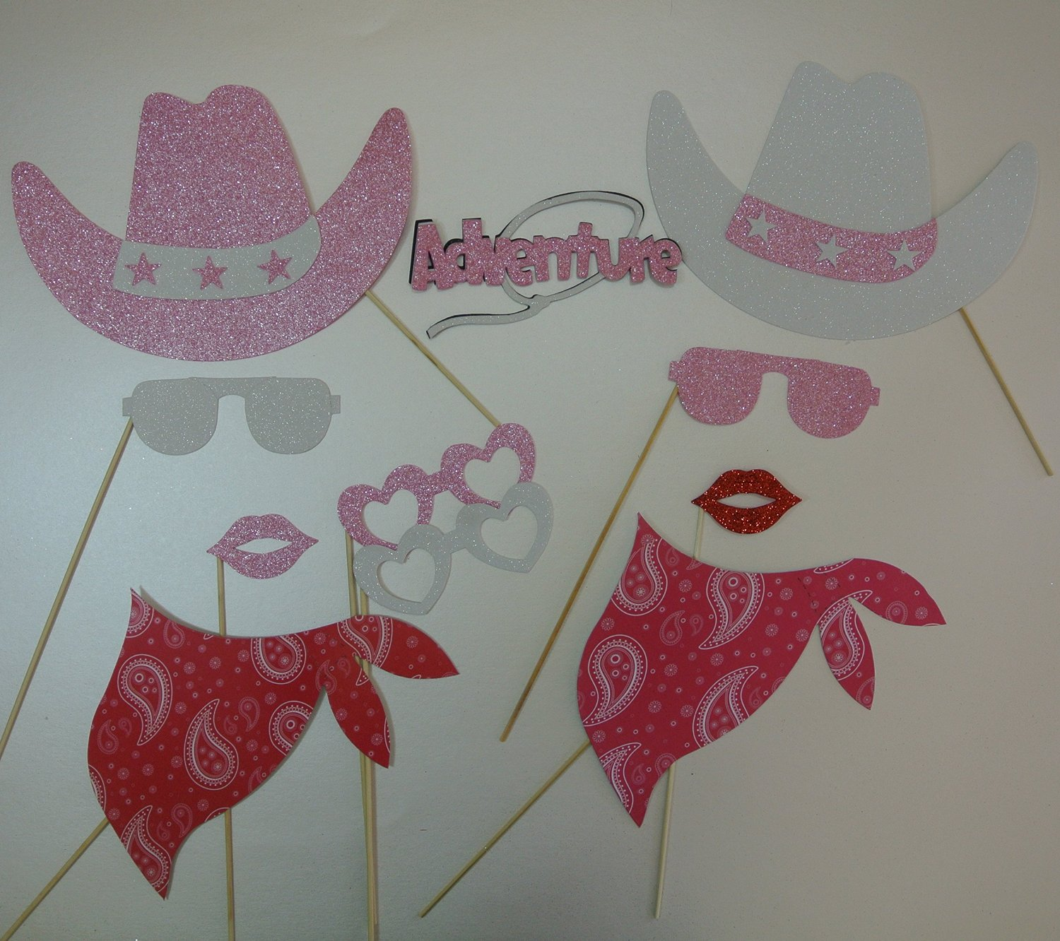ec4b2cfd5b950 Get Quotations · 11 Pc Photo Booth Party Props Mustache on a Stick Western  Theme Party Cowboy Hat Pink