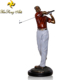 Sport item metal decorative golf ball sculpture custom man play golf brass statue sculpture